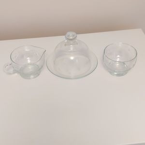 Princess House Set of Butter, Cream, Sugar Dishes